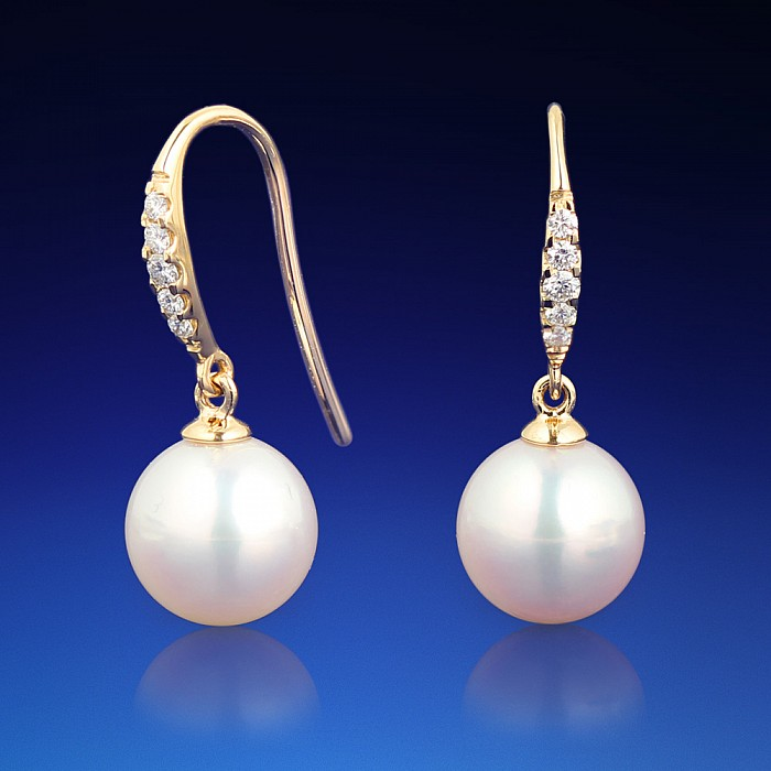 Zlaté náušnice Valeria s diamanty a perlou Akoya  96e5568e11f