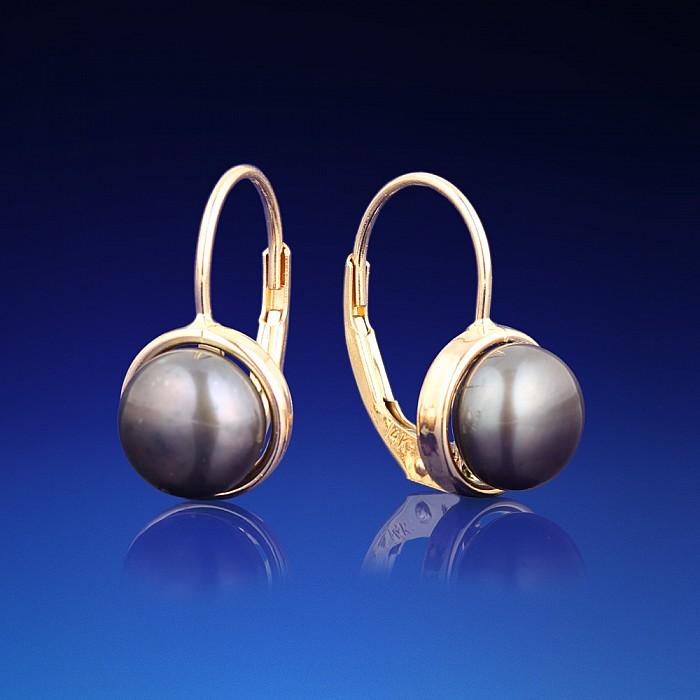 Zlaté náušnice Monica s černou perlou  50cb39edf66