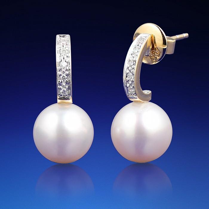 Zlaté náušnice Natalia s diamanty a perlou Akoya  3914dcfdc27